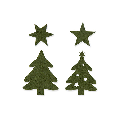 Vilten Kerstboompjes, Donker Groen, 32 st. per verpakking