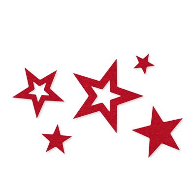 Vilt Sterren, Rood, 100 stuks
