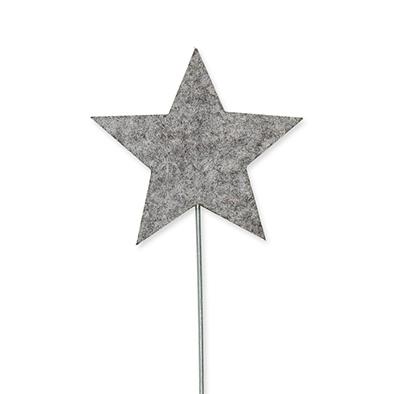 Vilt sterren pins, Grijs, 3 st. per verpakking