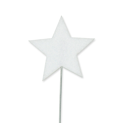 Vilt sterren pins, Wit, 3 st. per verpakking