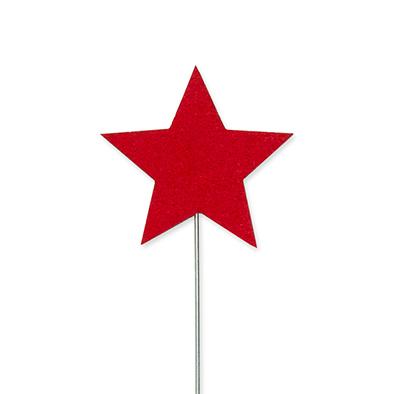 Vilt sterren pins, Rood, 3 st. per verpakking