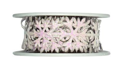 Glitter Stickerband ijs sterren Wit