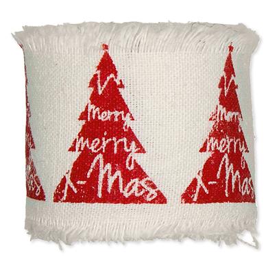 Bedrukt katoen Kerstboom print Rood