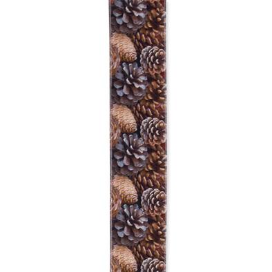Geprint lint Dennenappel 12 cm x 2 meter