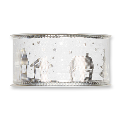 Geprint Lint Huis, Zilver/Wit