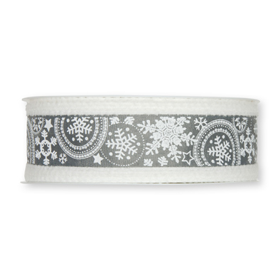 Sneeuw ster lint Grijs/Wit 40mm