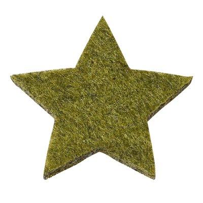 Vilten sterretjes dicht groen gemeleerd 3 cm doorsnee 12 stuks per doosje