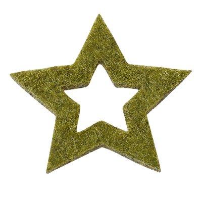 Vilten sterretjes groen gemeleerd 3 cm doorsnee 12 stuks per doosje