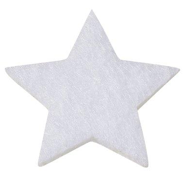 Vilten sterretjes dicht wit 3 cm doorsnee 12 stuks per doosje