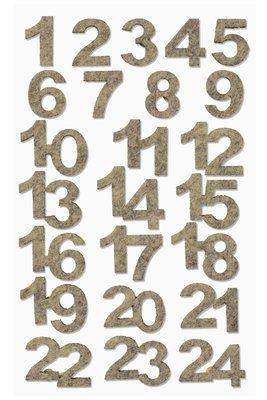 Vilten cijfers gemeleerd zand per velletje