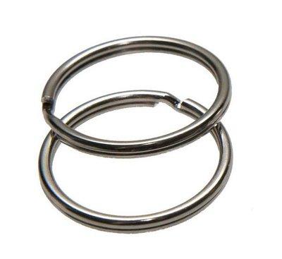 Sleutel ring zilver kleurig 25 mm doorsnee 10 stuks per zakje
