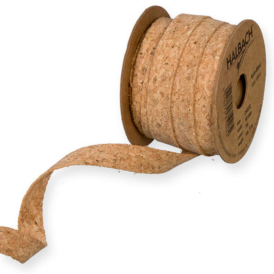 Kurk op stof band, 1 cm x 5 meter op rol