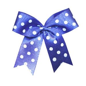 Strikje kobalt blauw met witte stippen 4 x 4,5 cm 10 stuks per zakje