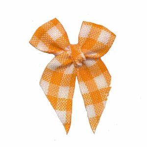 Strikjes geruit oranje 3 x 4 cm 10 stuks per zakje