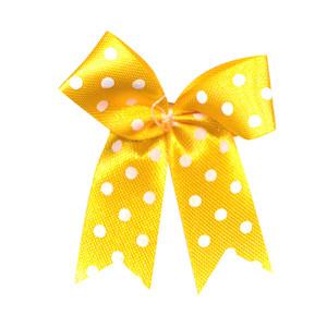 Strikje warm geel met witte stippen 4 x 4,5 cm 10 stuks