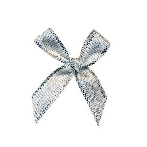 Strikjes groot zilver 2,5 x 2,5 cm 10 stuks per zakje