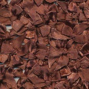 Strikje satijn bruin 20 x 25 cm 10 stuks per zakje