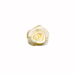 Satijnen roosjes ivoor 15 mm 10 stuks per zakje