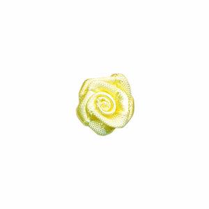 Satijnen roosjes zacht geel 15 mm 10 stuks per zakje