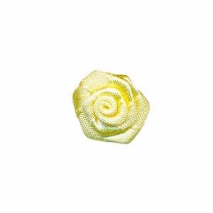 Satijnen roosjes zacht geel 20 mm 10 stuks per zakje