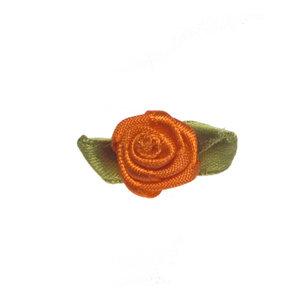 Satijnen roosjes oranje 15 mm met blad 10 stuks per zakje