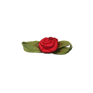 Satijnen roosje met blad rood 10 x 30  mm 10 stuks per zakje