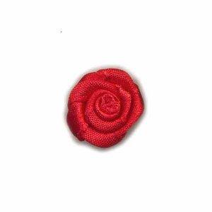 Satijnen roosje rood 20 mm 10 stuks per zakje