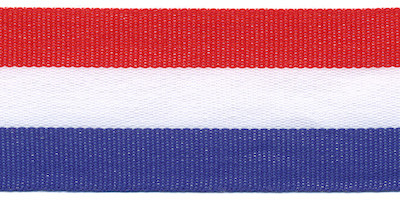 Rood wit blauw Nederlandse vlag lint 30 mm breed per meter