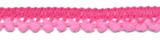 Mini pom pom band roze 10 mm breed per meter