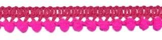 Mini pom pom band knal roze 10 mm breed per meter