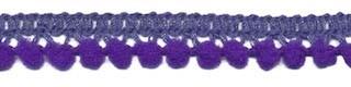 Mini pom pom band paars 10 mm breed per meter