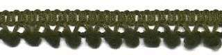 Mini pom pom band legergroen 10 mm breed per meter