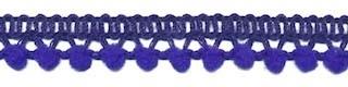 Mini pom pom band kobalt blauw 10 mm breed per meter