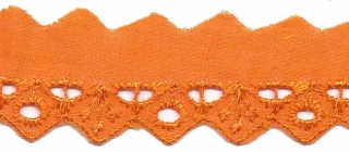 Broderie oranje 25 mm breed per meter