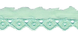 Broderie mint groen 25 mm breed per meter