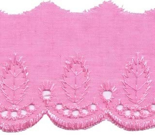 Broderie roze 50 mm breed per meter