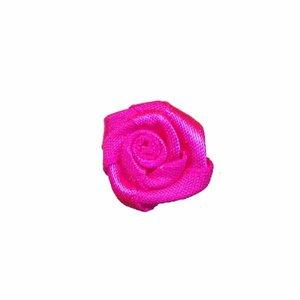 Satijnen roosje knal roze 20 mm 10 stuks per zakje