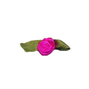 Satijnen roosje knal roze met blad 10 mm 10 stuks per zakje