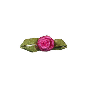 Satijnen roosje fuchsia met blad 10 mm 10 stuks per zakje