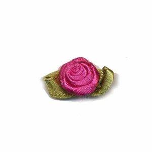 Satijnen roosje fuchsia met blad 15 mm 10 stuks per zakje