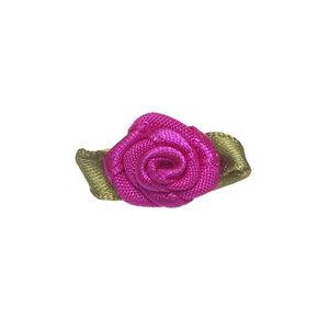 Satijnen roosje knal roze met blad 15 mm 10 stuks per zakje