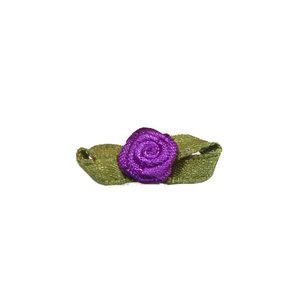 Satijnen roosje paars met blad 10 mm 10 stuks per zakje