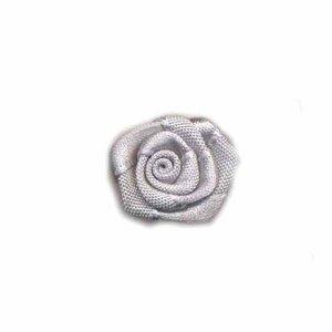 Satijnen roosje grijs 20 mm 10 stuks per zakje