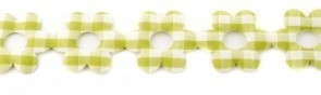 Bloemenband met geruit fel groen 2,5 cm breed per meter