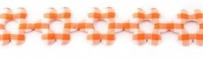 Bloemenband met geruit oranje 2,5 cm breed per meter