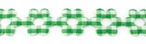 Bloemenband met geruit groen 2,5 cm breed per meter