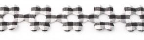 Bloemenband met geruit zwart 2,5 cm breed per meter