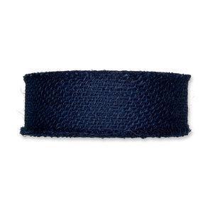 Jute band donkerblauw 5 cm breed per meter