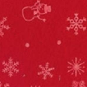 Vilt kerst print sneeuwpop ster rood 1,5 mm dik 90 cm breed per meter