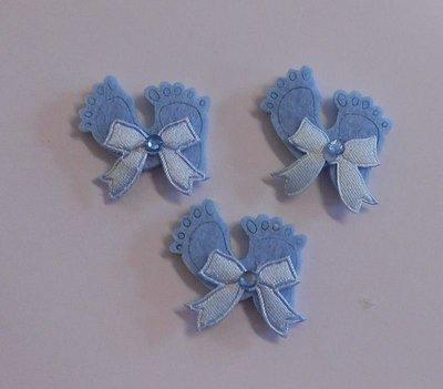 Vilten babyvoetjes blauw 3 stuks per zakje